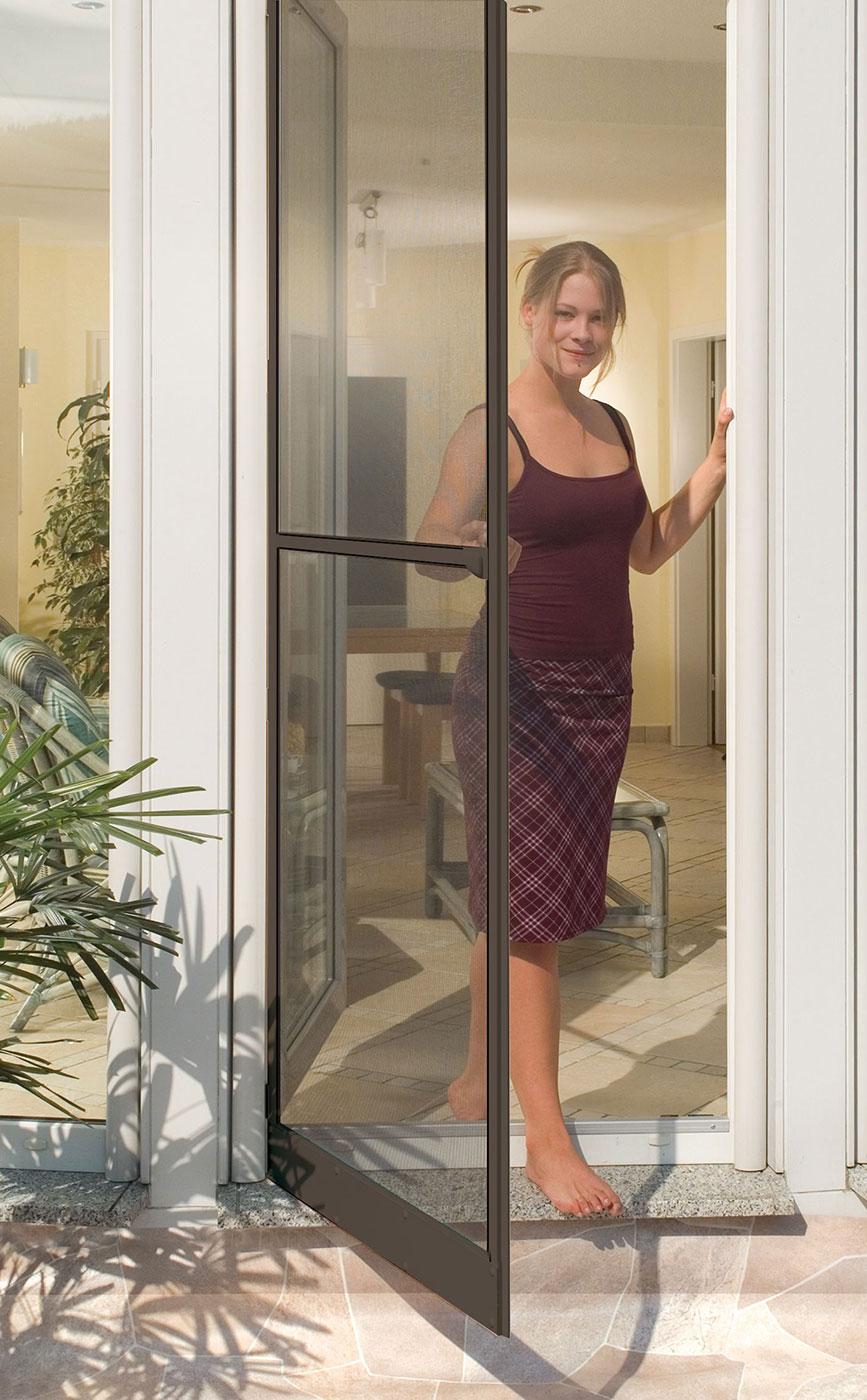 insektenschutz t r plus automatic 100x210cm wei braun schellenberg shop. Black Bedroom Furniture Sets. Home Design Ideas